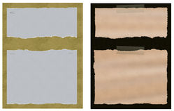 A set of two torn ripped paper with backgrounds. 2 torn ripped paper sets held by tape and staple wires with backgrounds. Each set is approximately 2250 X 3000 Royalty Free Stock Photos