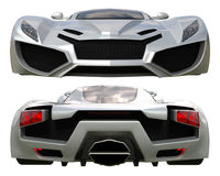 A set of two types of racing concept car in gray. Front and rear view. 3d illustration. Royalty Free Stock Photo