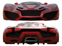 A set of two types of racing concept car in red. Front and rear view. 3d illustration. Royalty Free Stock Images