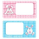 A set of two vector background Birthday card for child. Blue cute bunny boy and pink girl on a background with a checkered texture. Cartoon funny character stock illustration