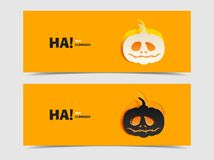 Set of two vector banners with pumpkin cut out Royalty Free Stock Photos