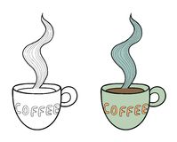 Set of two vector doodle coffee cups, outline and Royalty Free Stock Photo