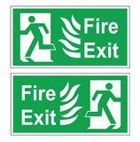 Set of two vector green evacuation signs. Fire exit right and left. Signs with fire and text Stock Image