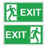 Set of two vector green evacuation signs. Fire exit right and left. Signs with text exit Stock Photo