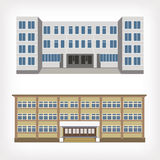 Set of two vector illustration of buildings Stock Photos
