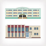 Set of two vector illustration of buildings Stock Images