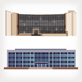 Set of two vector illustration of modern buildings Stock Photo