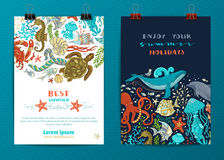 Set of two vector sea life poster templates. Stock Photo