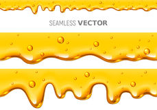 Set of two vector seamless dripping honey on white background Stock Images