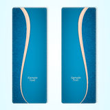 Set of two vertical banners blue denim with a pink ribbon. Stock Photo