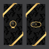 Set of two vertical banners on a dark background with ribbons and VIP round and oval logo. Vector Royalty Free Stock Images