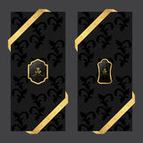 Set of two vertical banners on a dark background with ribbons and VIP square and oval logo. Vector Royalty Free Stock Photography