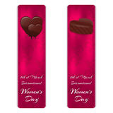 Set of two vertical banners with elegant silk ornament. At the top are two variants of chocolates, and below the inscription on Ma Stock Images