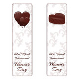 Set of two vertical banners with ornaments and chocolate hearts. For International Women`s Day March 8. Vector Stock Images