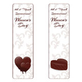 Set of two vertical banners with white ornament, chocolate hearts and marked the International Women`s Day on March 8th. Vector stock illustration