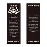 Set of two vertical elegant vip banners. With Victorian ornaments, brown. Stock Photo