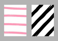 Set of two vertical  striped templates drawn by hand. Sketch, grunge, paint. Vector illustration. White, pink, black. vector illustration