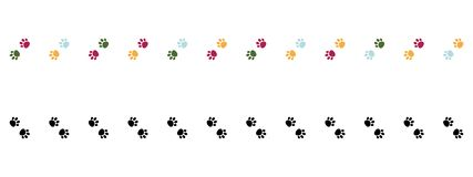 Set of Two Vertical Vector seamless borders with colorful cat paw dog paw. Pink, blue and green paws and Polka dot . Black paws stock illustration