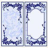 Set of two vintage blue invitations with lilies. Royalty Free Stock Photo
