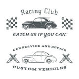 Set of two vintage, classic car labels, racing Royalty Free Stock Images