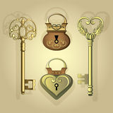 Set of two vintage locks with two keys. Vector set of two old locks and two ancient key Royalty Free Stock Photos