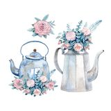 A set of two vintage watercolor kettles with bouquets of roses painted with watercolor. Royalty Free Stock Images