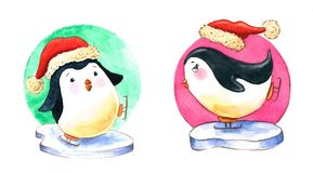 Two penguins ice skating watercolor illustration. A set of two watercolor penguins ice skating on a piece of ice wearing santa hats Stock Image