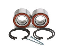 Set of two wheel bearings and four locking rings in the two cott Stock Images
