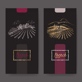 Set of two wine labels with vineyard landscapes. Stock Photos