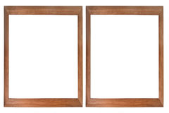 Set of two wooden photo frames. Isolated on white (with empty space for text, photo or picture Royalty Free Stock Images