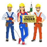 Set of two workmen and workwoman. In uniform holding drills and yellow sign with website under construction text message  on white background Stock Photos