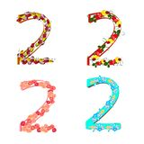 set of twos various flowers and fruits two to the holiday vector illustration