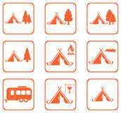 Set of tylized icons of tourist tent Royalty Free Stock Photo