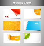 Set of 6 type of creative business cards. Vector art Stock Image
