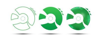 Set of 3 type modern logo green design technology innovation concept  Stock Photos