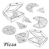 Set of type of pizza. Hand drawn ink sketch. Pepperoni, Margarita,  Mushroom.  Perfect for leaflets, cards, posters, prints, menu. Booklets.  Vector vector illustration