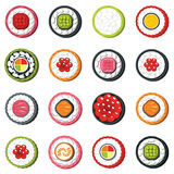Set of type seafood roll, Japanese food sushi vector set Royalty Free Stock Photos