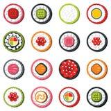 Set of type seafood roll, Japanese food sushi vector set stock illustration