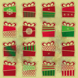 Set of 16 types of Christmas present Stock Image