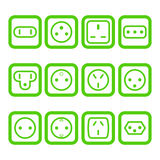 Set of 12 types of electricity outlets Royalty Free Stock Images