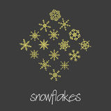 Set of 16 types of green snowflakes eps10. Set of 16 types of green snowflakes stock illustration