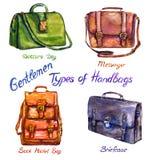 Set types of handbags gentlemen: doctors, messenger, back pocket and briefcase royalty free illustration