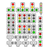 Set of Types Traffic Lights Royalty Free Stock Photography
