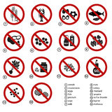 Set of typical food alergens prohibitions for restaurants and meal eps10 Royalty Free Stock Photography