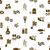 Set of typical food alergens for restaurants seamless pattern eps10 Royalty Free Stock Images
