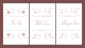Set typographic banner with text: For You, With Love, Always Yours, red floral ornament on white background Stock Photos