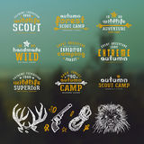 Set of typographic  compositions for t-shirt and design elements. Outdoor recreation. Print on blurred background Stock Photos