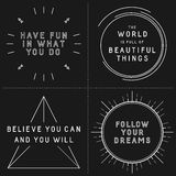 Set of typographic designs with inspirational quotes Royalty Free Stock Photos