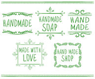 Set of typographic elements. Hand made. VECTOR handwritten letters. Green drawings. Stock Image