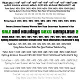 Set of  Typographic Elements for Sale, spring, summer, winter, valentine's day, autumn, new year events. Stock Photos
